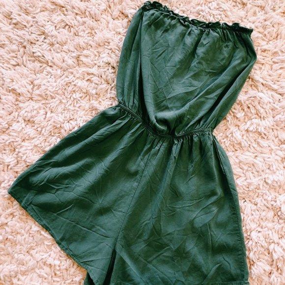H&M Pants - H&M Olive Green Strapless Short Romper